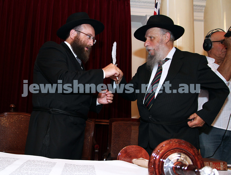 29-1-12. East Melbourne Hebrew Congregation. Double Torah dedication at Queens Hall, Parliament House, Victoria with Cheif Rabbi Lord Jonathan Sacks in attendance.  Rabbi Eli Gutnick with Yeshivah principal Shmuel Gurewicz. Photo: Peter Haskin.