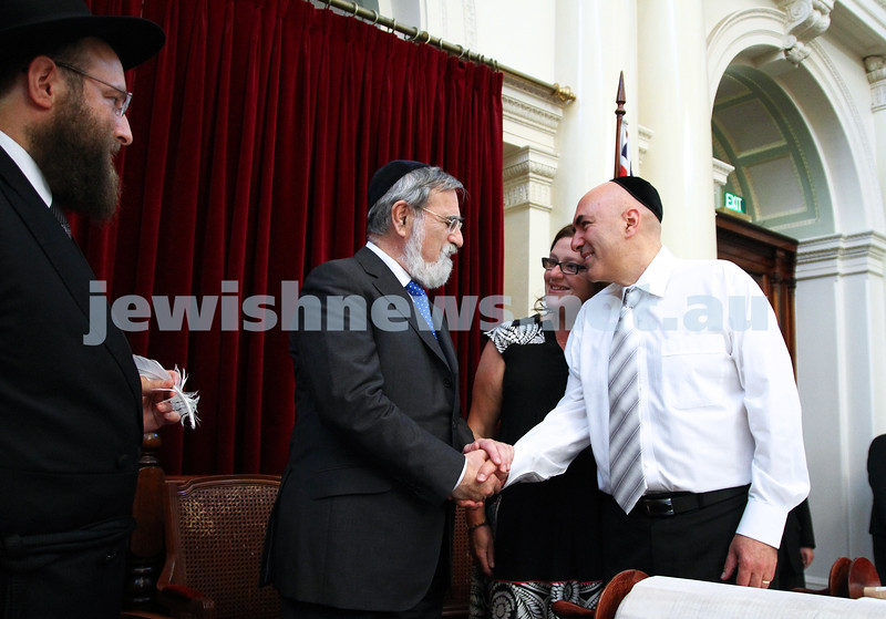 29-1-12. East Melbourne Hebrew Congregation. Double Torah dedication at Queens Hall, Parliament House, Victoria with Chief Rabbi Lord Jonathan Sacks in attendance. Lord Sacks with EMHC President Danny Segal. Photo: Peter Haskin.