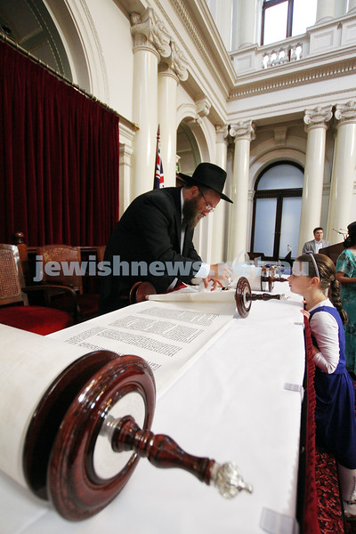 29-1-12. East Melbourne Hebrew Congregation. Double Torah dedication at Queens Hall, Parliament House, Victoria with Chief Rabbi Lord Jonathan Sacks in attendance. . Photo: Peter Haskin.