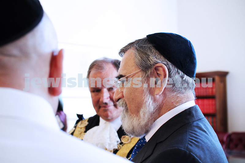 29-1-12. East Melbourne Hebrew Congregation. Double Torah dedication at Queens Hall, Parliament House, Victoria with Cheif Rabbi Lord Jonathan Sacks in attendance.  Photo: Peter Haskin.
