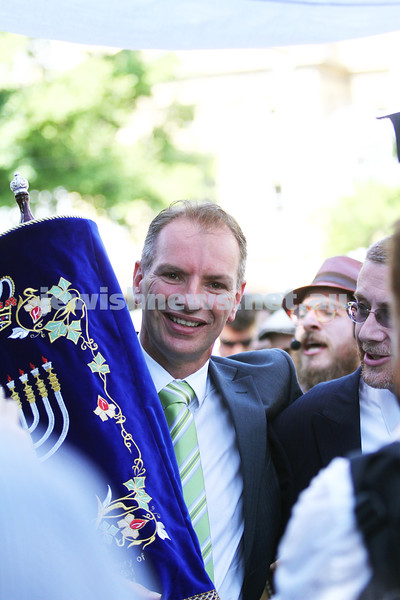 29-1-12. East Melbourne Hebrew Congregation. Double Torah dedication at Queens Hall, Parliament House, Victoria with Chief Rabbi Lord Jonathan Sacks in attendance. Procession from Parliament House to EMHC in Albert Street. David Southwick. Photo: Peter Haskin.