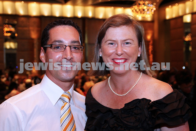 29-1-12. Gala dinner at Crown's Paladium Room for Chief Rabbi Lord Jonathan Sacks. Anton Block, Elizabeth Miller, Member for Bentleigh.  Photo: Peter Haskin.