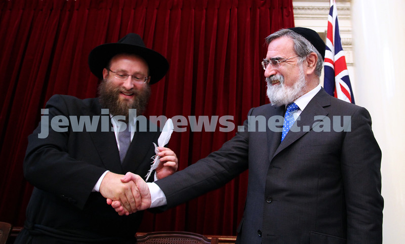 29-1-12. East Melbourne Hebrew Congregation. Double Torah dedication at Queens Hall, Parliament House, Victoria with Cheif Rabbi Lord Jonathan Sacks in attendance.  With Rabbi Eli Gutnick. Photo: Peter Haskin.
