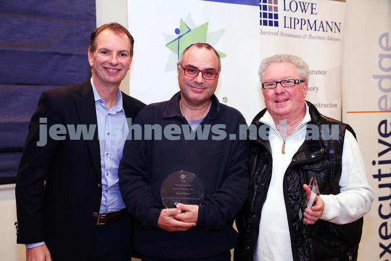 19-5-13. Maccabi Victoria Volunteer Awards 2013. Tennis Club. . From left: David Southwick, Yaron Flicker, Henry Muscatel.  Photo: Peter Haskin