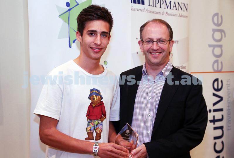 19-5-13. Maccabi Victoria Awards 2013. Outstanding Jewish junior sportsman. Football (soccer). Jordan Brown (left), Jamie Hyams. Photo: Peter Haskin