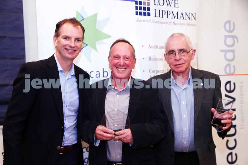 19-5-13. Maccabi Victoria Volunteer Awards 2013. Toastmasters club. From left: David Southwick, Victor Kelman, David Hatchuel. , Photo: Peter Haskin