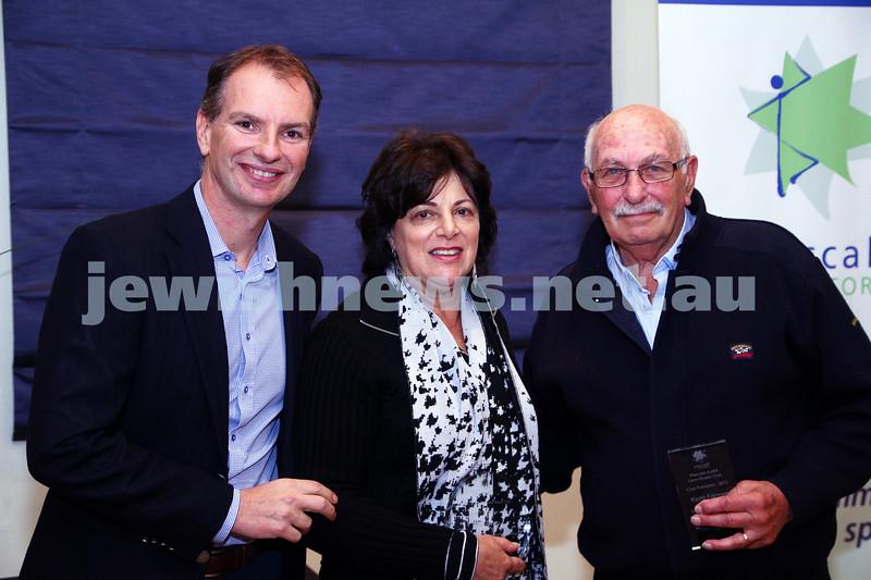 19-5-13. Maccabi Victoria Volunteer Awards 2013. Lawn Bowls Club. From left: David Southwick,Sue Aarons, Keith Faiman. Photo: Peter Haskin