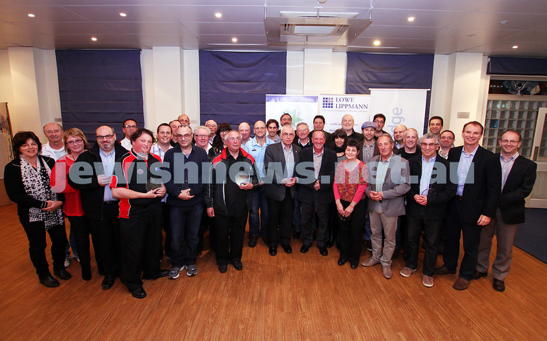 19-5-13. Maccabi Victoria Volunteer Awards 2013. Group pic of all the voluteer award winner and club presidents. Photo: Peter Haskin