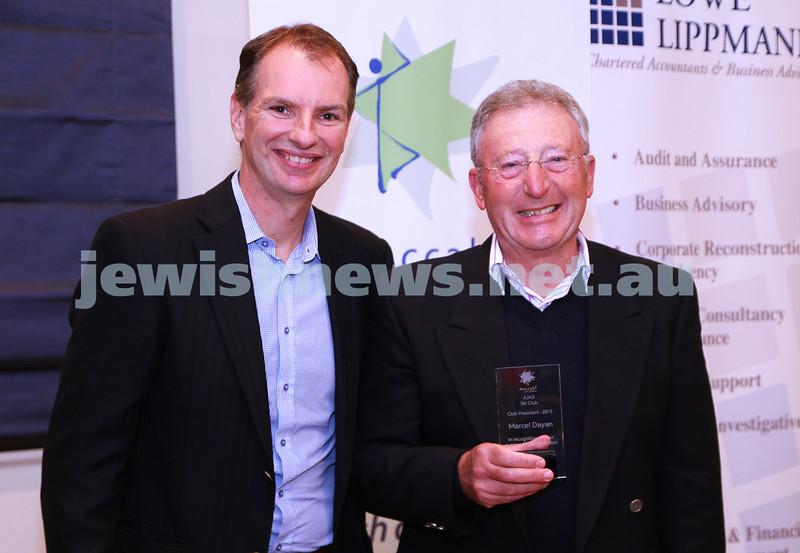 19-5-13. Maccabi Victoria Volunteer Awards 2013. AJAX Ski Club. David Southwick (left), Marcel Dayan. Photo: Peter Haskin