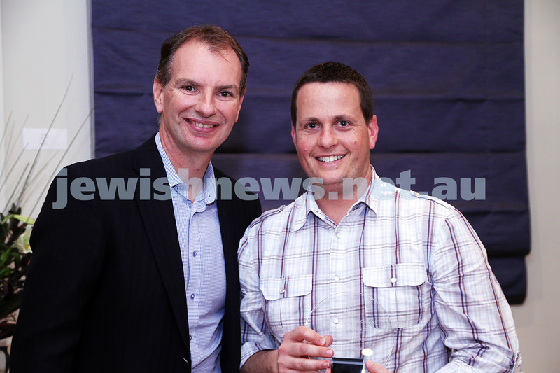 19-5-13. Maccabi Victoria Volunteer Awards 2013. Hockey Club. David Southwick (left), Darren Krawitz. Photo: Peter Haskin