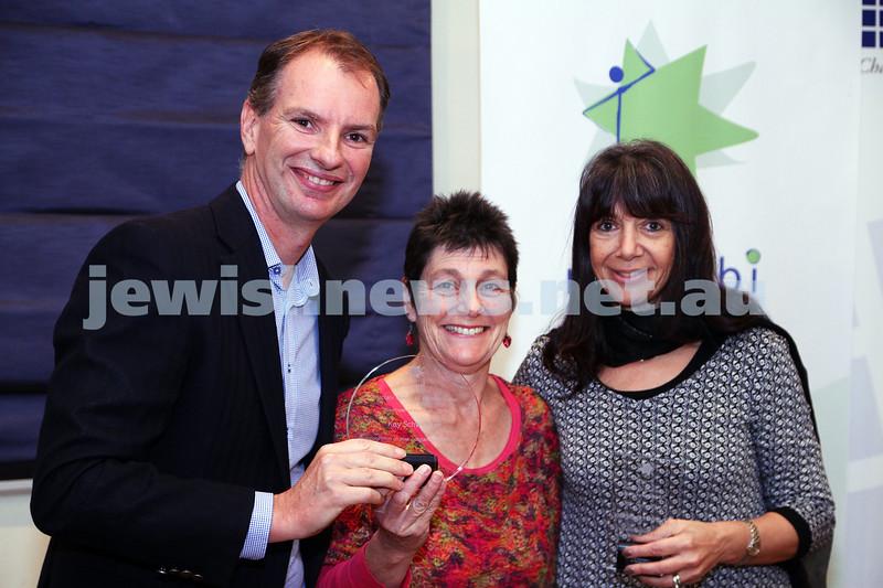 19-5-13. Maccabi Victoria Volunteer Awards 2013. All Abilities Group. From left: David Southwick, Kay Schweitzer, Sharon Hamilton.  Photo: Peter Haskin
