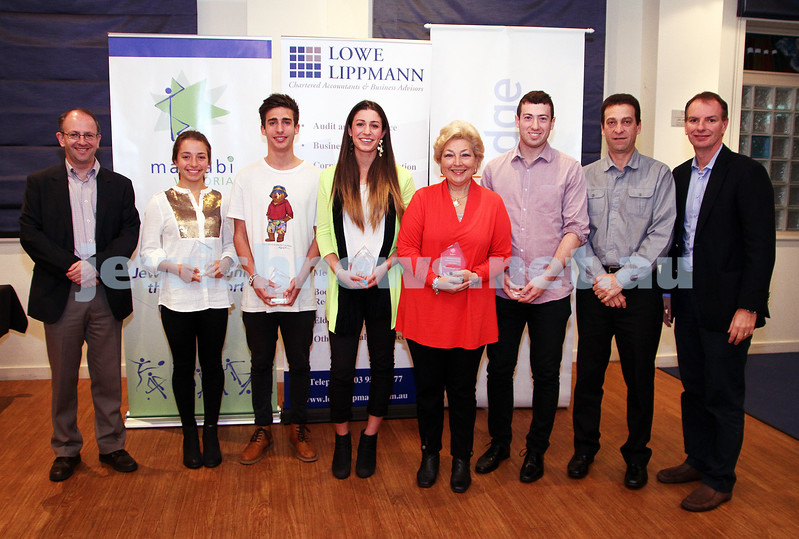 19-5-13. Maccabi Victoria Awards 2013. Outstanding Jewish sports people. From left: Jamie Hyams, Jemima Montag, Jordan Brown, Ashley Brown, Gail Nadelman, Joel Gocs, Joe Dorfman, David Southwick. Photo: Peter Haskin