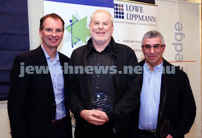 19-5-13. Maccabi Victoria Volunteer Maccabi Foundation Award. From left: David Southwick, Alan Synman, Russell Jaffe.  Photo: Peter Haskin