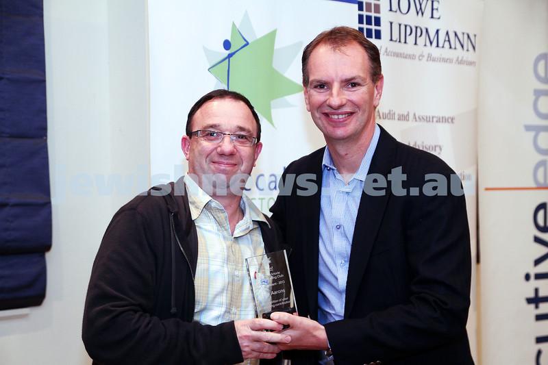 19-5-13. Maccabi Victoria Volunteer Awards 2013. Ten Pin Bowling Club. Tony Aarons (left), David Southwick . Photo: Peter Haskin