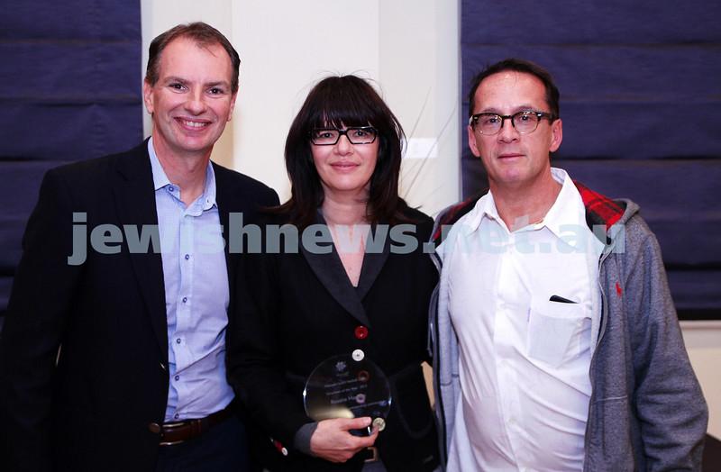 19-5-13. Maccabi Victoria Volunteer Awards 2013. Netball Club. From left: David Southwick, Rosalie Machlin, John Gdanski.  Photo: Peter Haskin