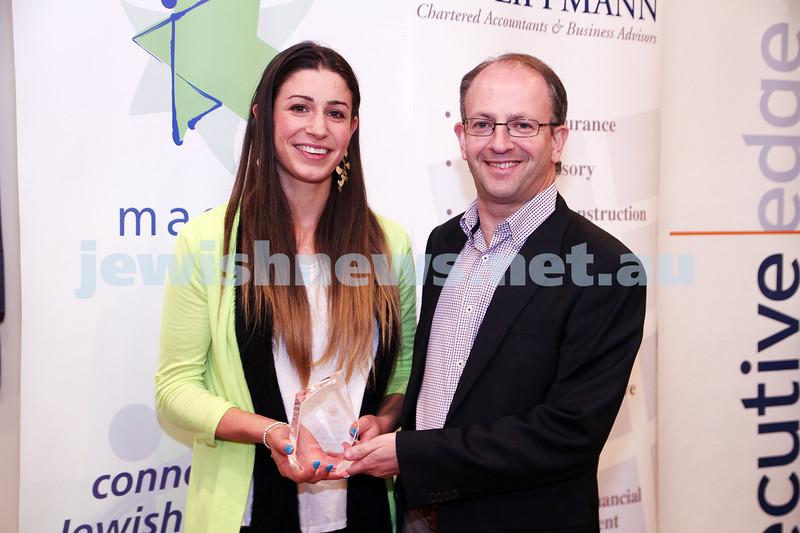 19-5-13. Maccabi Victoria Awards 2013. Outstanding Jewish sportswoman. Football (soccer) Ashley Brown, Jamie Hyams. Photo: Peter Haskin