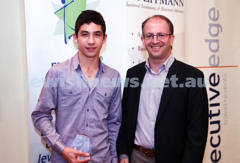 19-5-13. Maccabi Victoria Awards 2013. Outstanding Maccabi Club Jnr spoertsman. Swimming Club. Asher Marks (left), Jamie Hyams. Photo: Peter Haskin