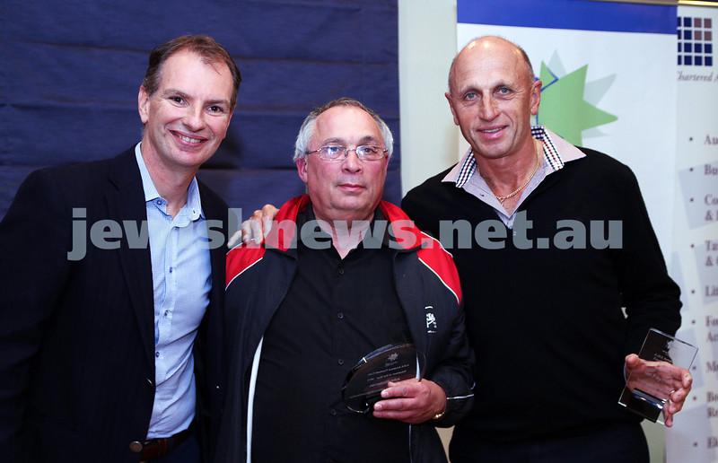 19-5-13. Maccabi Victoria Volunteer Awards 2013. AJAX snr football club. From left: David Southwick, John Rockman, Ian Fayman, Photo: Peter Haskin