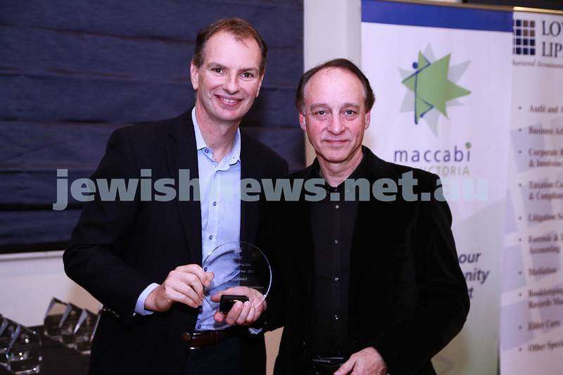 19-5-13. Maccabi Victoria Volunteer Awards 2013. Cycling Club. David Southwick (left), John Gould. Photo: Peter Haskin