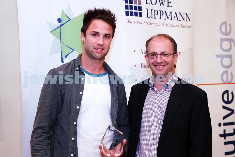 19-5-13. Maccabi Victoria Awards 2013. Outstanding Maccabi Club sportsman. AJAX Football Club. David Fayman (left), Jamie Hyams. Photo: Peter Haskin