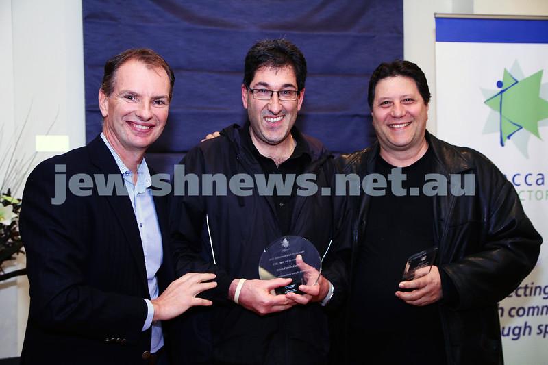 19-5-13. Maccabi Victoria Volunteer Awards 2013. Basketball Club. From left: David Southwick, Mark Garkawe, Danny Samuels.  Photo: Peter Haskin