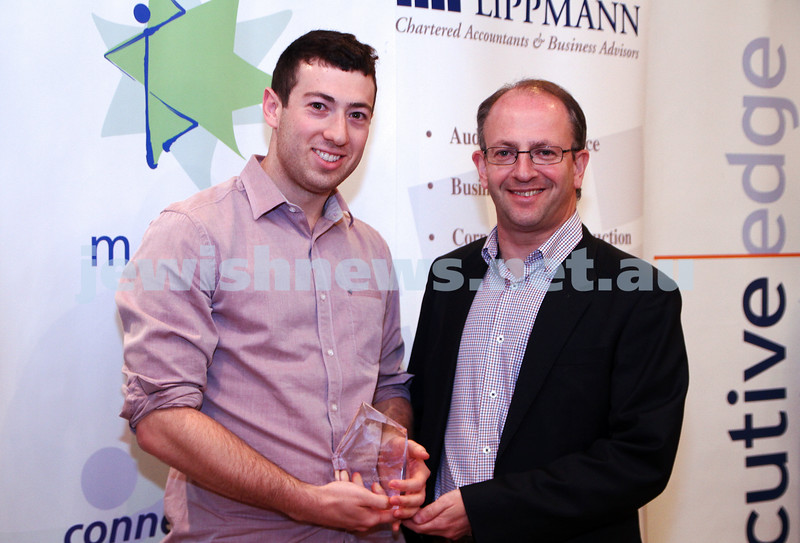 19-5-13. Maccabi Victoria Awards 2013. Outstanding Jewish sportsman. Joel Gocs (left), Jamie Hyams. Photo: Peter Haskin