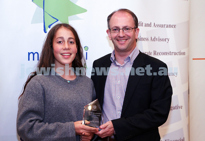 19-5-13. Maccabi Victoria Awards 2013. Outstanding Maccabi Club Jnr sportswoman. North Caulfield Maccabi Jnr Footbal Club. Jamie Brown (left), Jamie Hyams, Photo: Peter Haskin