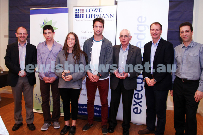 19-5-13. Maccabi Victoria Awards 2013. Maccabi club sports people of the year. From left: Jamie Hyams, Asher Marks, Jaimie Brown, David Fayman, David Hatchuel, David Southwick, Jow Dorfman. Photo: Peter Haskin
