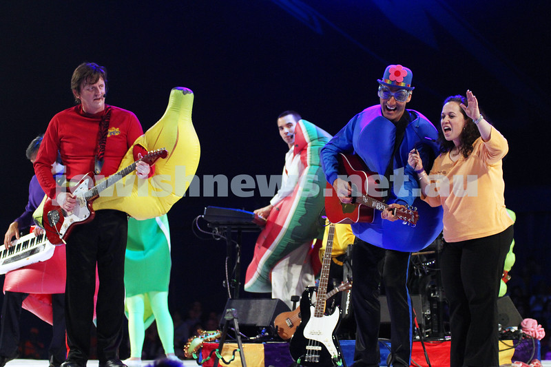 "2-12-11. The Wiggles. Tammy Cohen on stage with the Wiggles at the Flemington racecourse in Melbourne singing ""Fruit Salad"". Tammy won a competition to be the 5th Wiggle. Photo: Peter Haskin"
