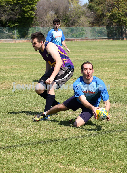 Maccabi Touch Footy competition at Centennial Park. Joel Solomons from team Whakatanes scores a try.