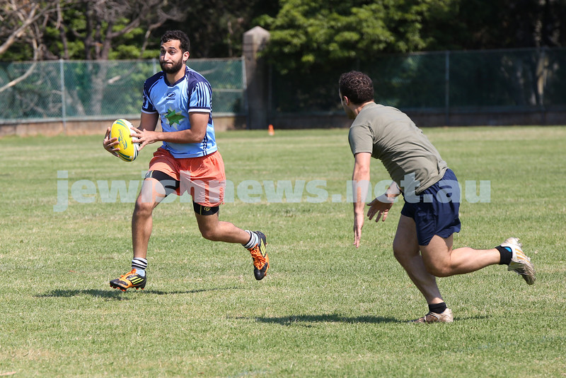 Maccabi Touch Footy competition at Centennial Park. Jonny Harrison from team Whakatanes runs to score a try.