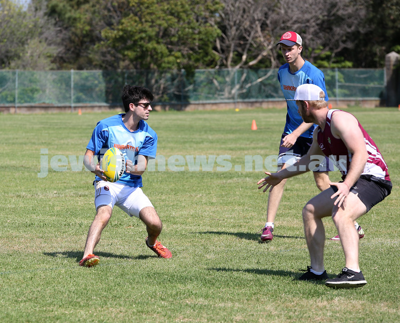 Maccabi Touch Footy competition at Centennial Park. Shaun Reichman from team Whakatanes about to pass to Nathan Bloomfield.