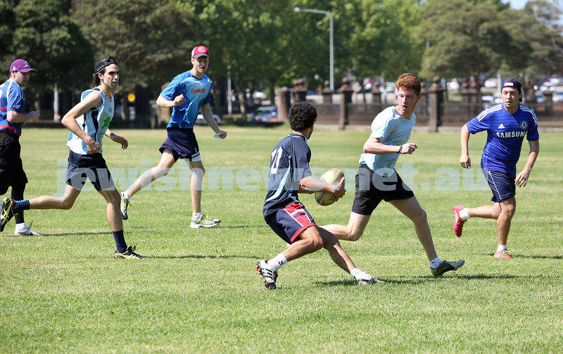Maccabi Touch Footy competition at Centennial Park. Team Mac Touch vs Siroburgess. Robbie Ezekiel about to the ball to David Weiner (L). Jake Rosenberg and Simon Grunstein defend.