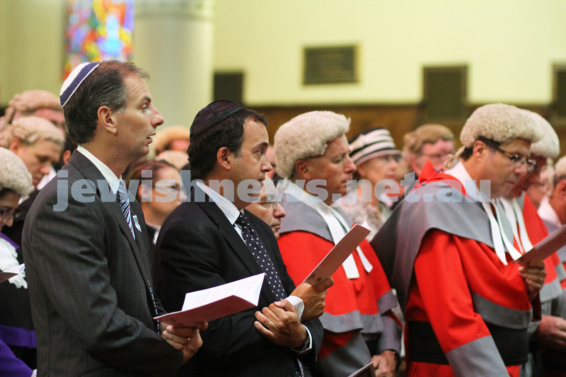 31-1-11. Melbourne Hebrew Congregation. Opening of the Law Year 2011. David Southwick (far lleft), Martin Pakula (left). Photo: Peter Haskin