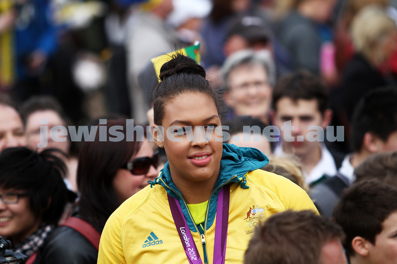 22-8-12. A packed Federation Square in Melbourne welcomes home Australia's medalists from the London 2012 Olympics.  Liz Canbage. Photo: Peter Haskin