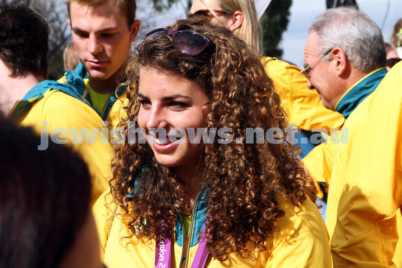 22-8-12. A packed Federation Square in Melbourne welcomes home Australia's medalists from the London 2012 Olympics. Jewish silver medalist Jessica Fox. Photo: Peter Haskin
