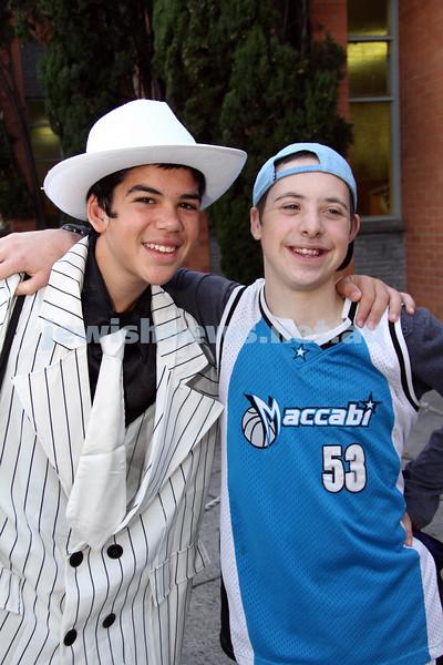 Purim 2011. Yeshivah College. ????? (left), Zelman Feiglin. Photo: Peter Haskin