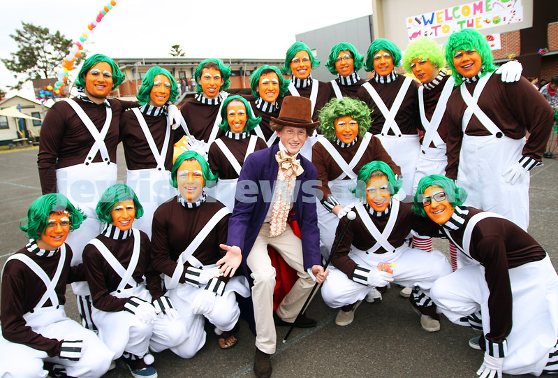 22-2-13. Purim at Yavneh Leibler College. It was a Wonkaland theme at the school with a gaggle of Oompa lumpas and Will Wonka himself. Photo: Peter Haskin