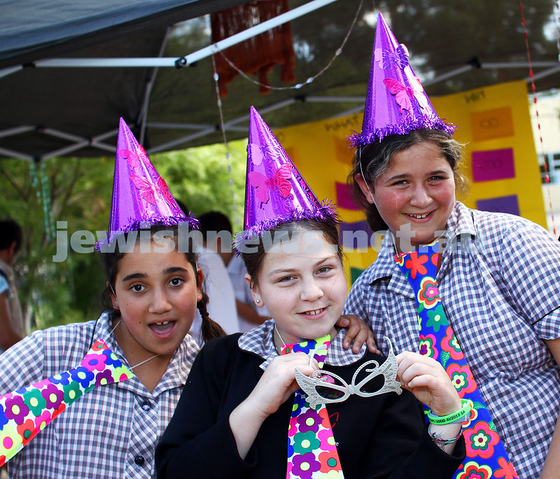 25-2-13. JSN/UJEB. Purim at Glen Eira College. From left: Dani Goldman, Leah Hain, Naomi Szmerling. Photo: Peter Haskin