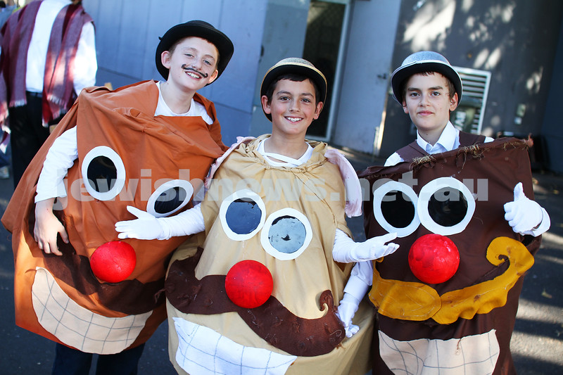 Yeshivah College. Purim 2013. From left: Aharon Zev, Shimi Pacanowski, Ari Raskin. photo: peter haskin