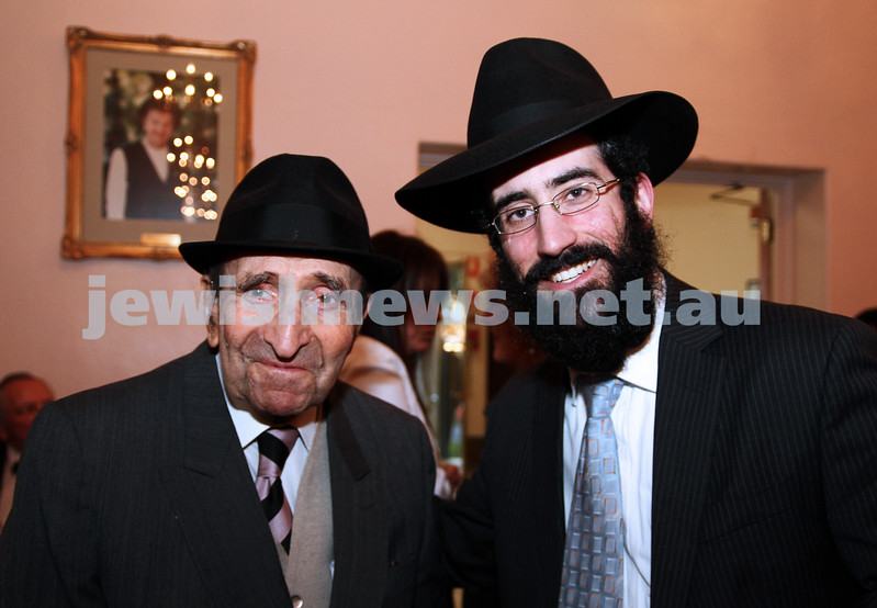 14-8-11. St Kilda Shul. Induction of Rabbi Yaakov Glasman. Henry Glasman and Rabbi Yaakov Glasman. photo: Peter Haskin