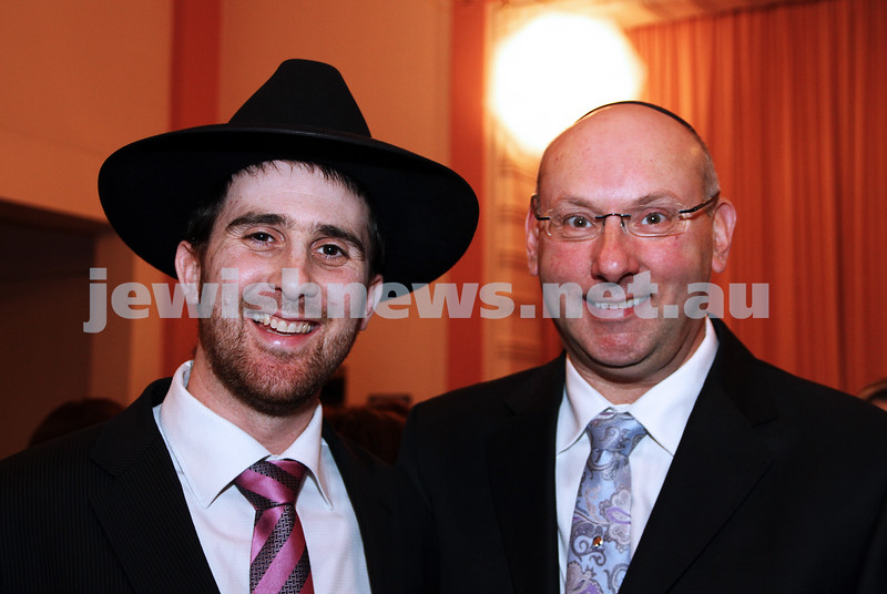 14-8-11. St Kilda Shul. Induction of Rabbi Yaakov Glasman. Rabbi Hillel Nagel (left), Stephen Pinch. photo: Peter Haskin