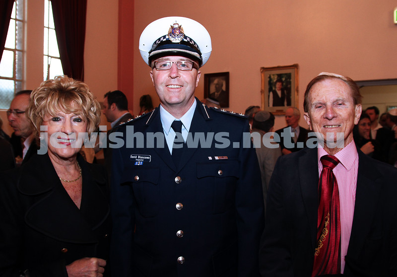 14-8-11. St Kilda Shul. Induction of Rabbi Yaakov Glasman. From left: Suzanne Ress, Inspector David Blencowe, ????? Ress. photo: Peter Haskin