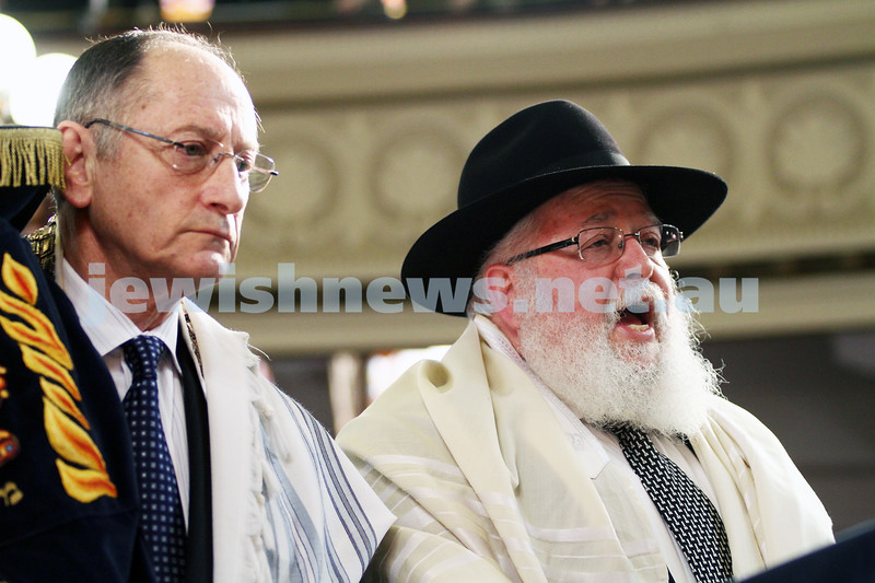 14-8-11. Induction of Rabbi Yaakov Glasman as Chief Minister of St Kilda Hebew Congregation. Rabbi Philip Heilbrunn. Photo: Peter Haskin