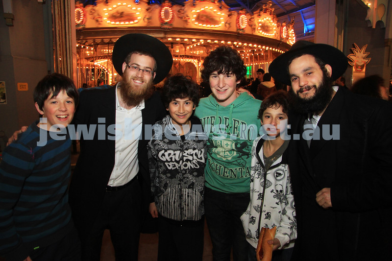 27-9-10. Chabad Youth annual Succot at Luna Park. From left: Gabriel Hanvey, Moshe Loebenstein, Aaron Kempler, Aaron Haver, Seann Yemini , Ruvi Cooper. Photo: Peter Haskin
