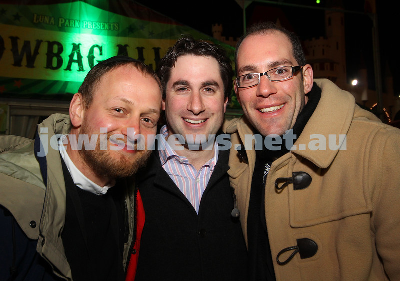 27-9-10. Chabad Youth annual Succot at Luna Park. From left: Moshe Kahn, Daniel Parasol, Dov Farkas. Photo: Peter Haskin