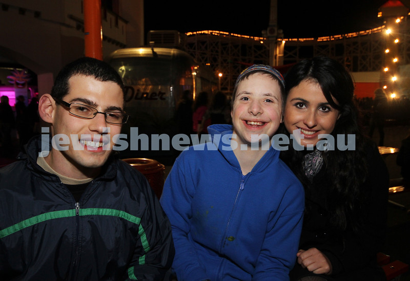 27-9-10. Chabad Youth annual Succot at Luna Park. From left: Guy Slome, Zelman Feiglan, Rachel Bendet. Photo: Peter Haskin
