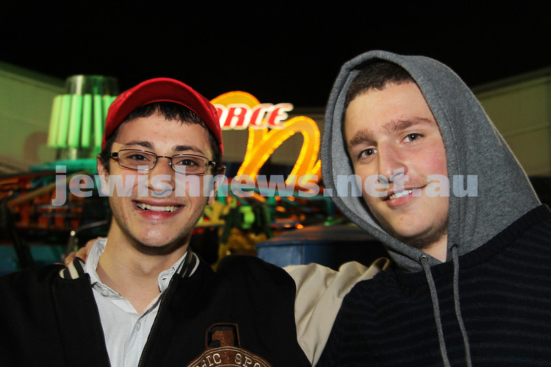27-9-10. Chabad Youth annual Succot at Luna Park. Avi Bart (left), Sadya Liberow. Photo: Peter Haskin