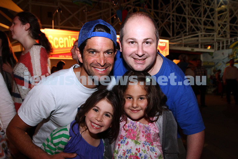 3-10-12. Chabad Youth. Succot at Luna Park, Melbourne. Joshua Goldstadt (left), Steven Joffe. Jayda Goldstadt-Joffe, Isabella Joffe. Photo: Peter Haskin