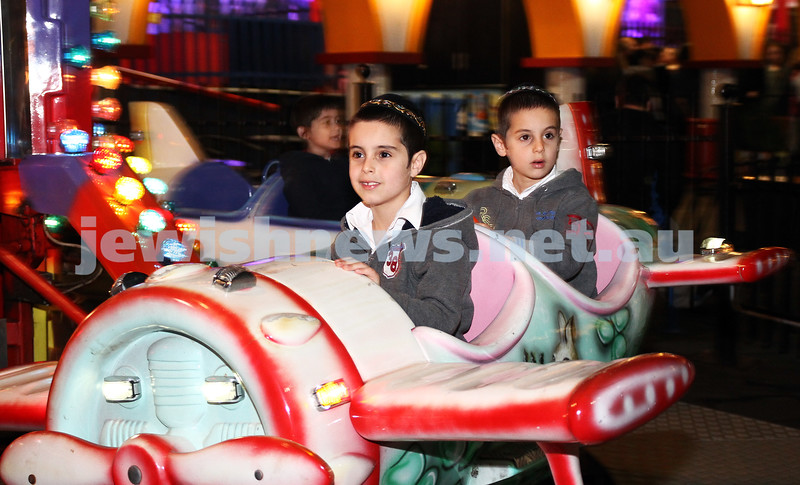 3-10-12. Chabad Youth. Succot at Luna Park, Melbourne. Shloimy and Mendy Abenaim. Photo: Peter Haskin